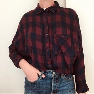 Rails plaid button up sz M